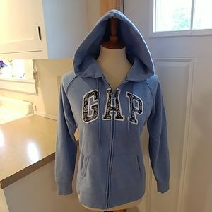 GAP Light Heather Blue Full Zip Logo Hoodie sz M